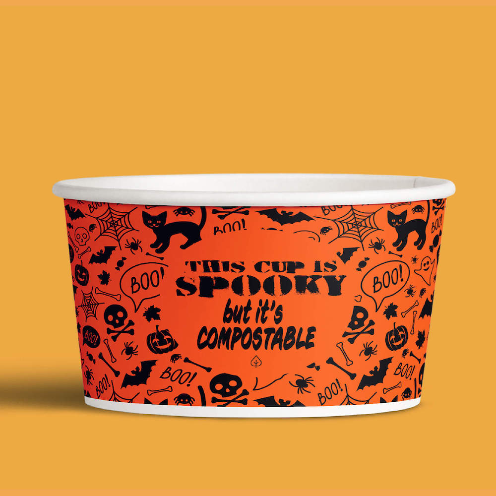 compostable paper cup with halloween design
