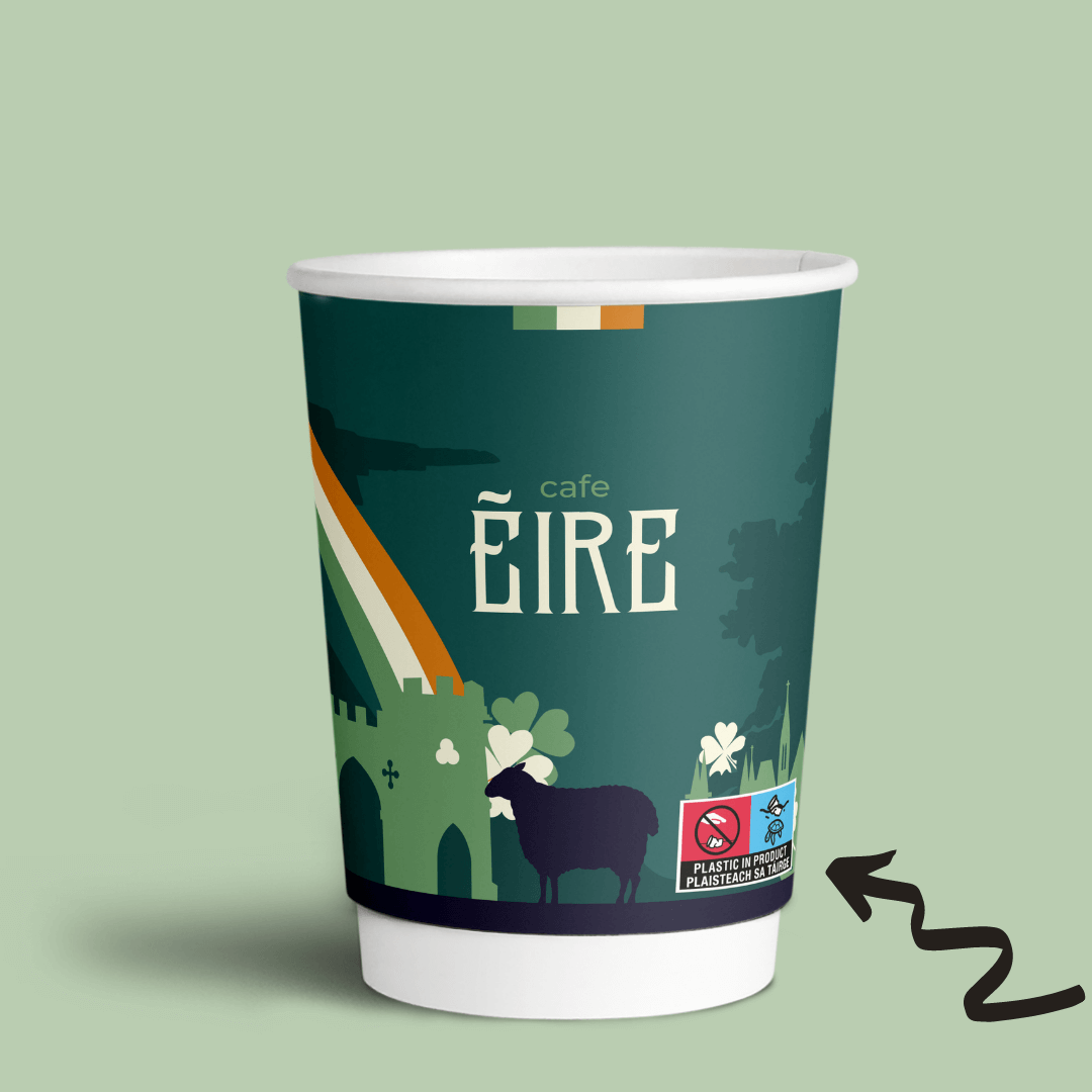 Image for a blog post about European Single-Use Plastic Directive Paper Cups Turtle Logo Labelling Requirements and Drinks Cups Regulations in Ireland, updated in April 2021 with official Irish-language marking text